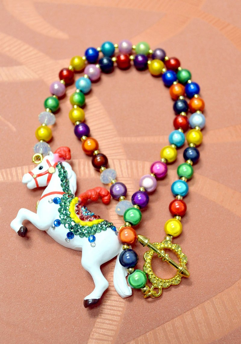 TIMBEE LO Circus White Horse Seven-color Bulb Necklace Retro Vintage