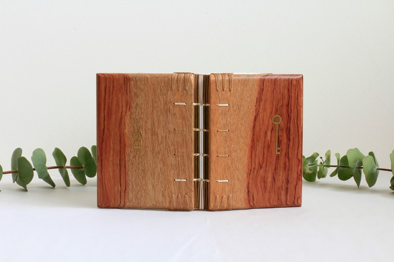 Wooden Notebook - Rosewood, Brass mosaic, Coptic Bound (camel & white thread)