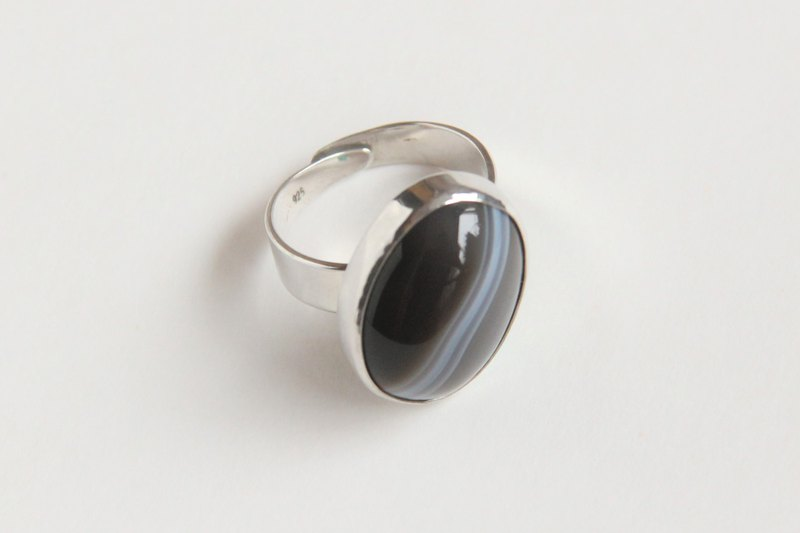 Sterling Silver Black Agate Ring /Free Size