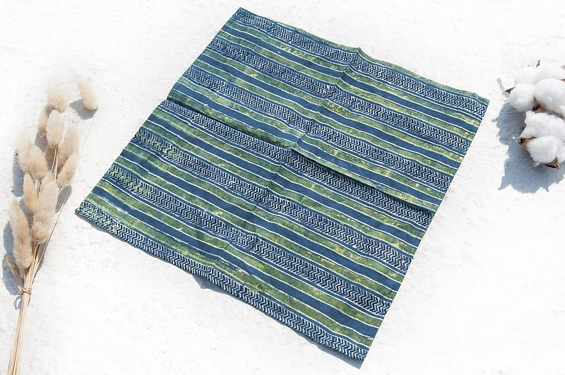 India handmade woodcut printed square scarf plant dyed cotton cloth handkerchief tea towel scarf hand towel-blue dyed stripes