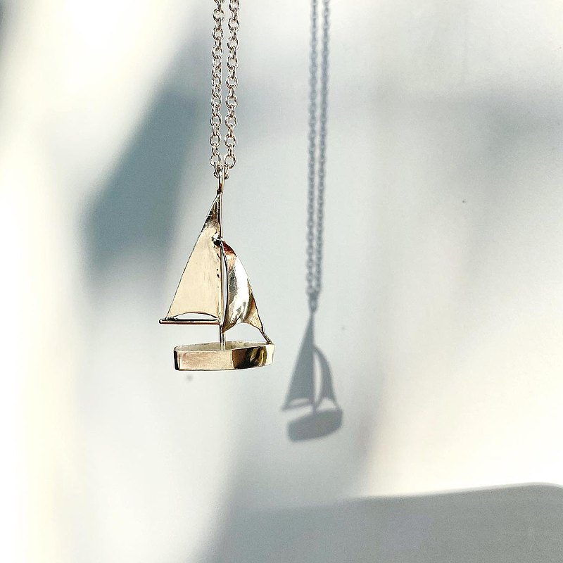 MIH Metalworking Jewelry | Sailing Boat-Travel Series Sterling Silver Necklace sailing boat