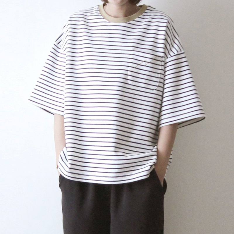 Thick cotton five-point sleeve shirt khaki collar blue * white striped cotton lightning pocket Tee
