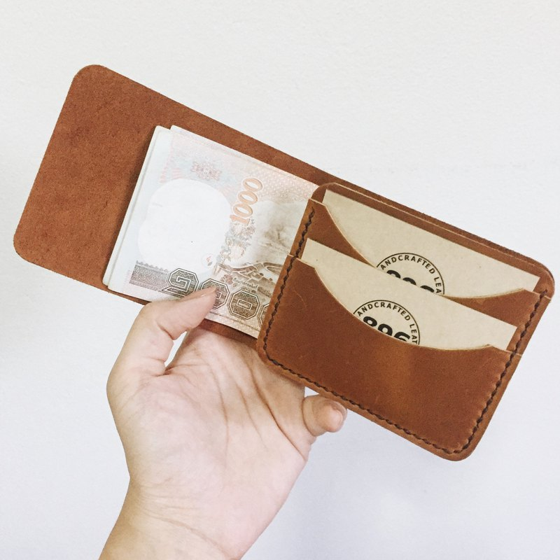 Minimal Tan Oil Leather wallet, Half wallet, Slim wallet, Leather billfold