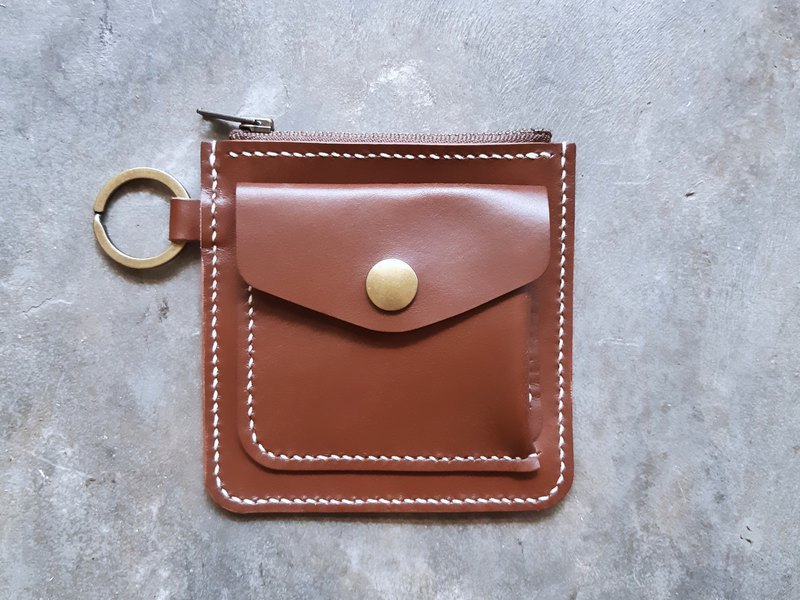 Square zipper silver bag well stitched leather material bag wallet wallet loose paper bag Italian vegetable tanned