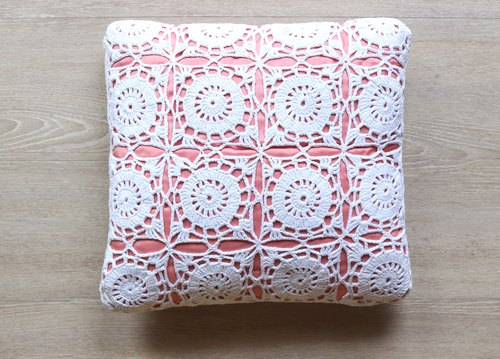 Finnish coral red lace wicker pillow