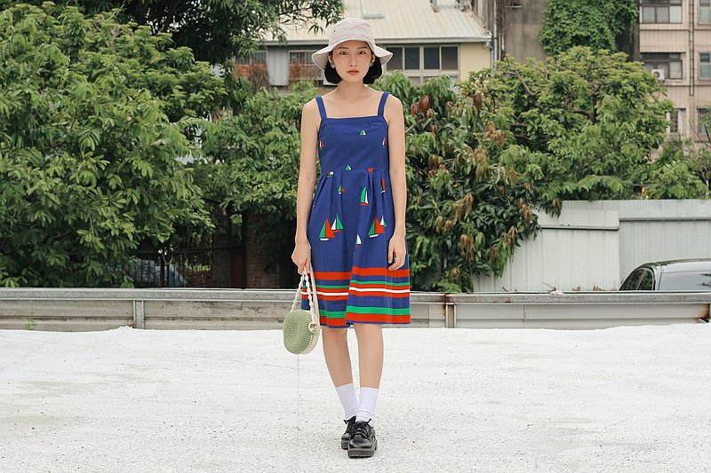Navy sailing sleeveless vintage dress
