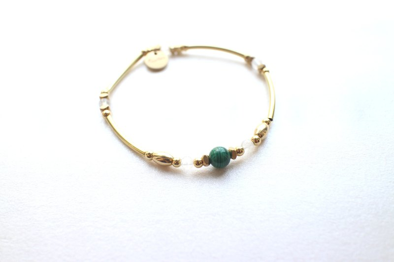 Green Light-Moonstone brass bracelet