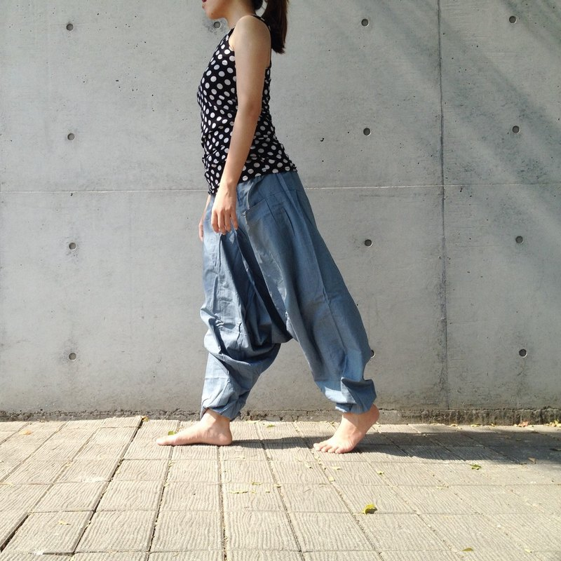 [Travel x India] Basic / Alibaba pants (light blue gray) (cotton) (neutral) (alibaba pants)