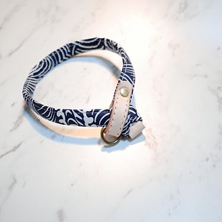 /Made to Order / Dog collars, Cat style, Japan fabric with deep blue print
