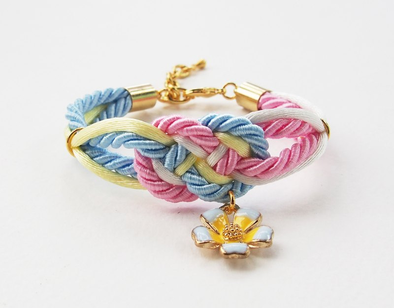 Pink/blue/white/yellow infinity knot rope bracelet with flower charm