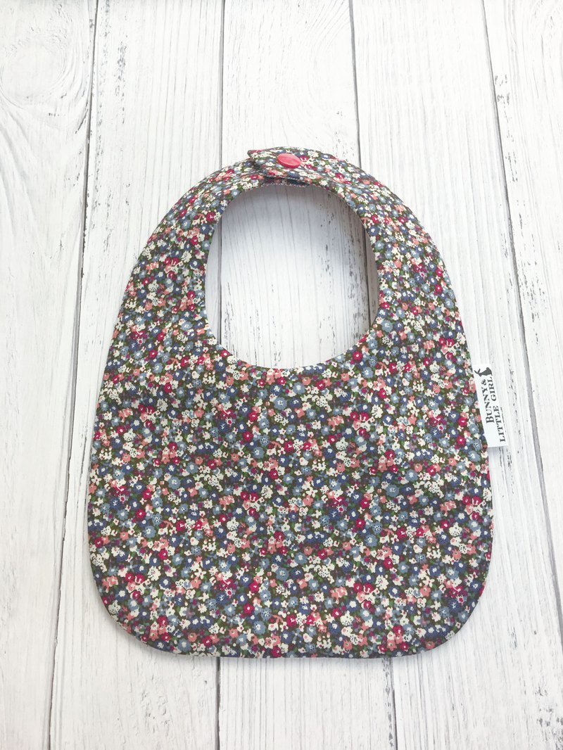 Double-sided bib - gray small floral