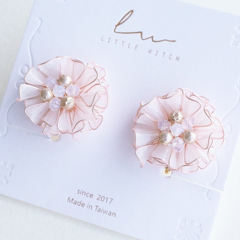 Star Elephant Flower - Pink White. Resin Crystal Flower Earring / Ear Clip