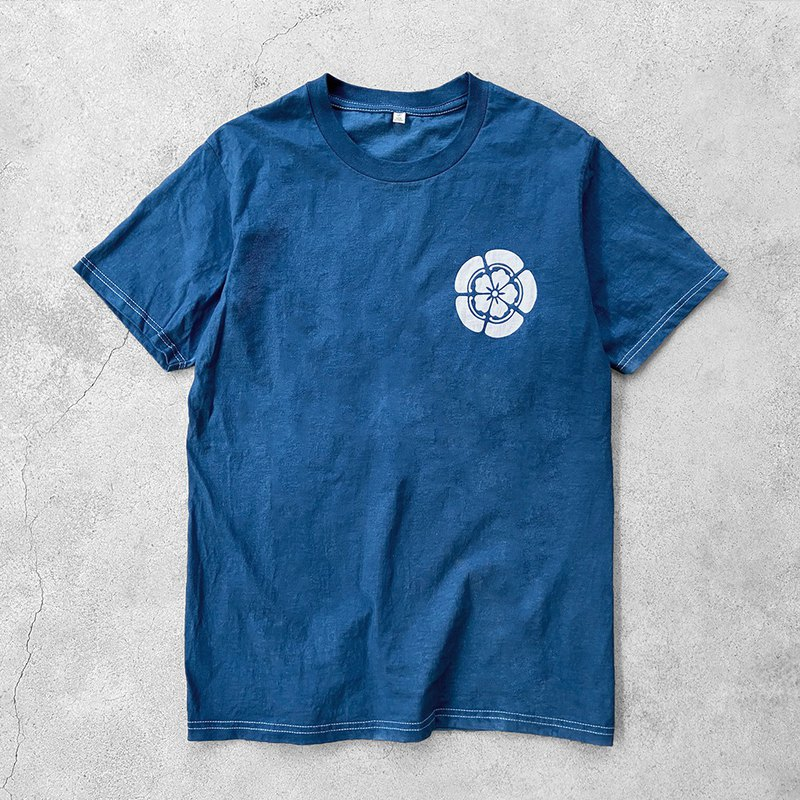Major Folk│Natural plant paste blue dyed cherry blossom indigo short sleeve TEE shirt indigo couple