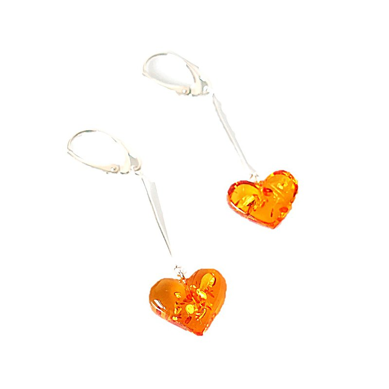 Dangle love natural amber earrings 925 silver