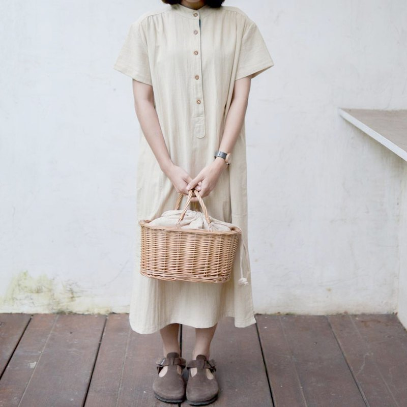mandarin collar dress | handwoven Thai wood bark dyed dyed cotton |