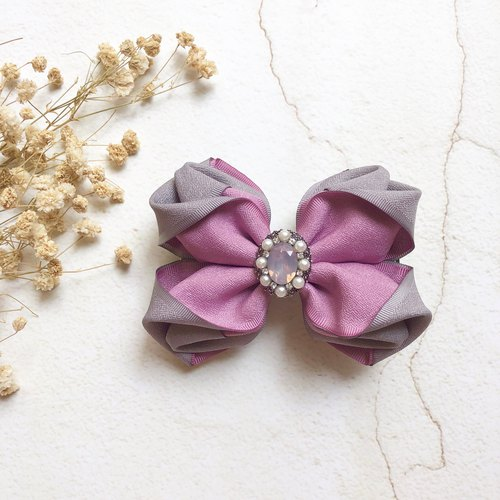 Matte texture two-color three-dimensional bow spring clip / purple gray