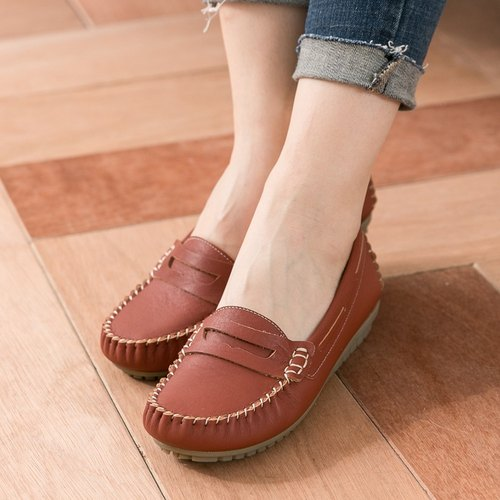 Maffeo Peas shoes flat shoes washed leather spring and summer pilgrims must be soft to upgrade Peas shoes (517 retro brick red)