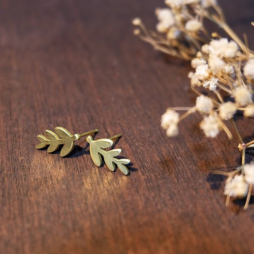 Tiny fern leaf brass earrings