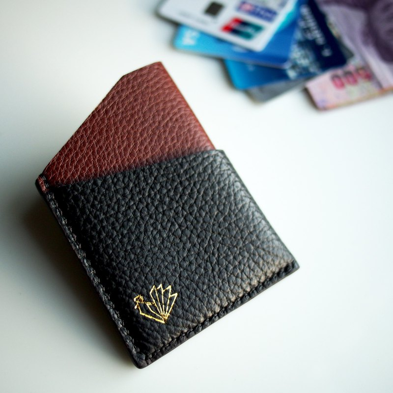 Handmade mini wallet two tone leather (black, brown) / card pouch / card holder