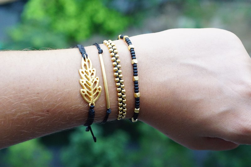 Black and Gold Boho Bracelet Set, Elegant Bracelets, All Black