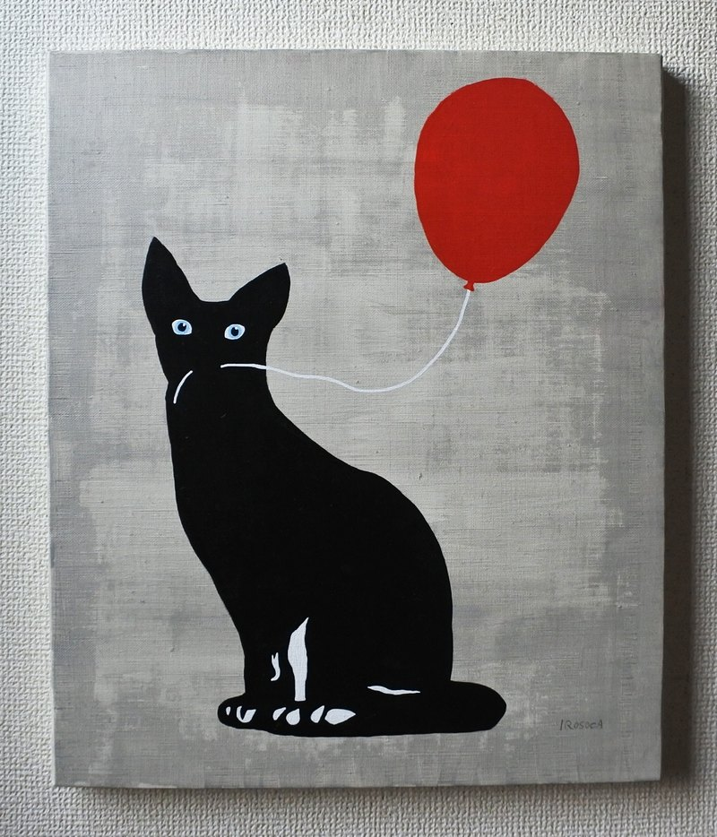 【IROSOCA】 Cat with balloons Canvas painting F 8 size original picture