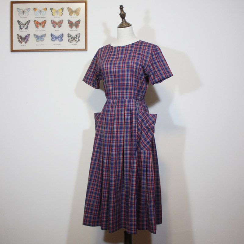 (Vintage American vintage dress) blue red check double pocket cotton dress F3542