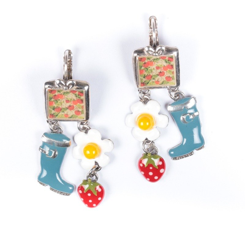 [France TARATATA] Pomegranate series of cold enamel earrings