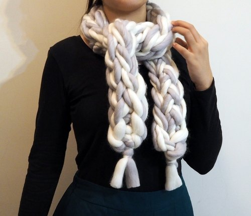 Pure wool scarf - snow silver