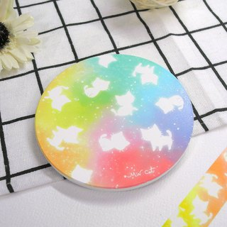 Colorful cat ceramic water coaster