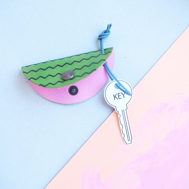 Watermelon pattern) nume leather half moon key case key holder green + pink