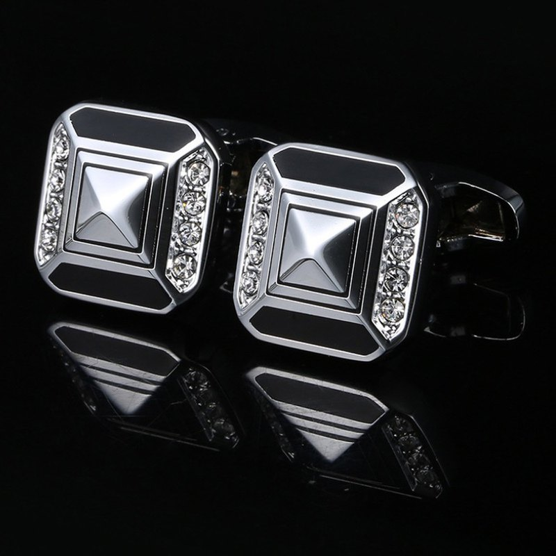 Kings Collection Austrian Crystal Black Cufflinks KC10048a Black