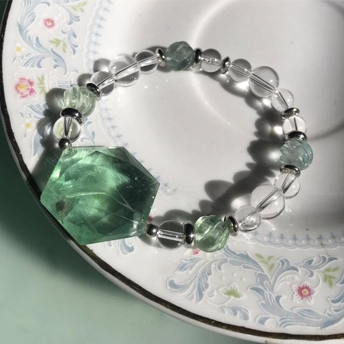 【Lost And Find】Natural fluorite  star of david  bracelet