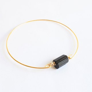 Natura black tourmaline bracelet - 18k gold plated thin bracelet natural crystal