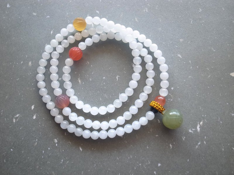 ORLI Jewelry Natural and Jadeite Jadeite 108 Rosary Multi Circle Bracelet Agate Lotus Beads