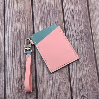 【U6.JP6 handmade leather goods】 - Pure hand-made linen carlo pink leather hand-made natural leather sewing. Credit card sets / travel card sets