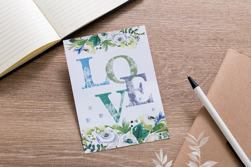 About love watercolor illustration postcard