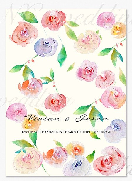Designer romantic watercolor wedding card / wedding invitation - Rose