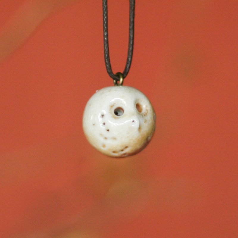 Firewood Pottery Essential Oil Necklace Little White Ball Owl