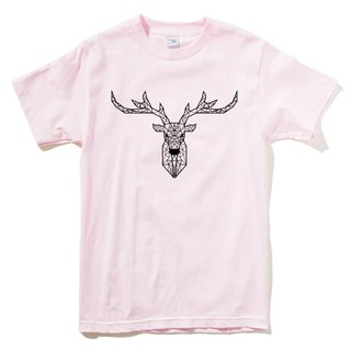 Deer Geometric Short Sleeve T-Shirt Light Pink Geometric Deck Design Own Brand Milky Way Trendy Round Triangle