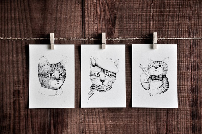 Cat Portrait Series Card - Exquisite Cat / Beret Cap Cat / Martini Cat / Postcard