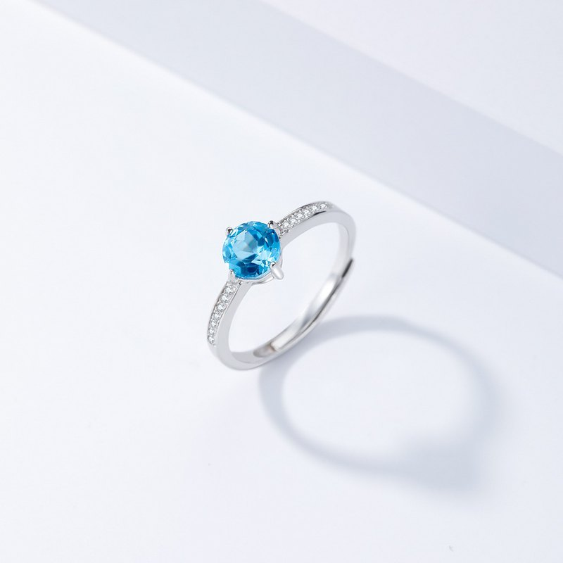 Blue Topaz Ring, 925 Sterling Silver Zircon, Natural Gemstone, Adjustable Size