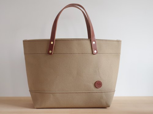 Nume Leather Handle Canvas Tote Back