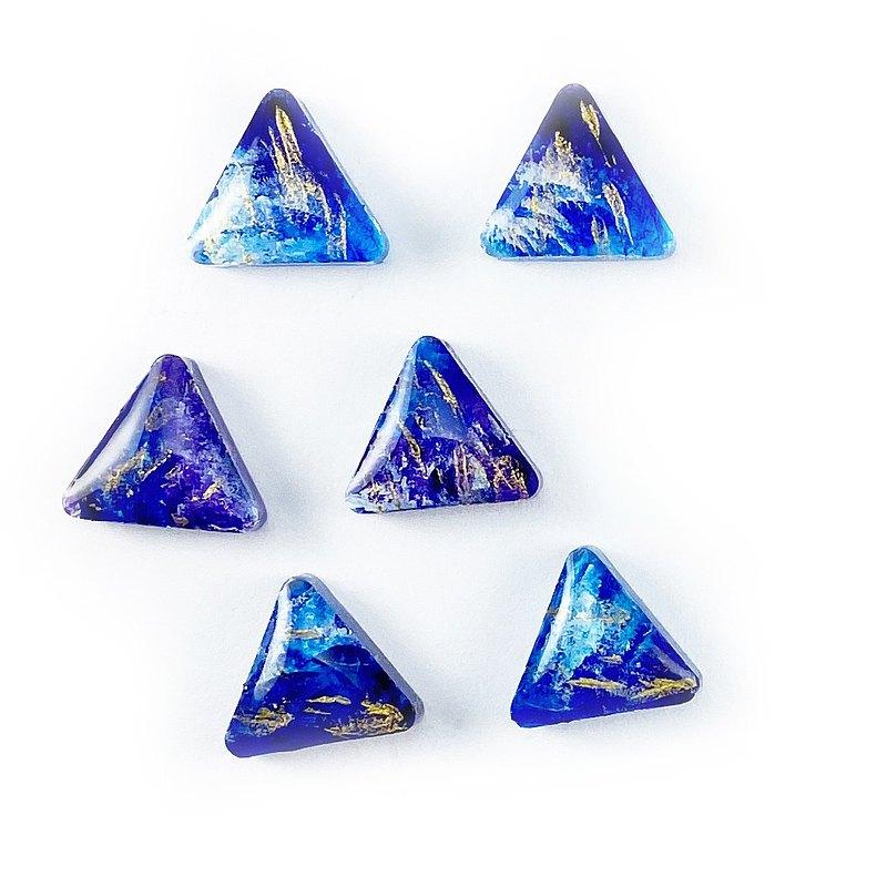 日本樹脂藍色油畫風山形耳環(可改夾)