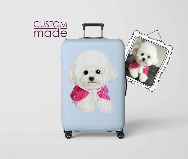 Custom Made Suitcase cover Portrait Illustration Luggage Cover with Pet Dog Cat