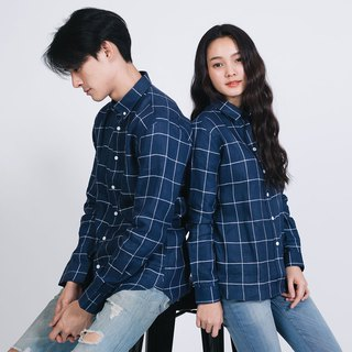 (SIZE S) PREMIUM // navy blue check  // women long sleeves