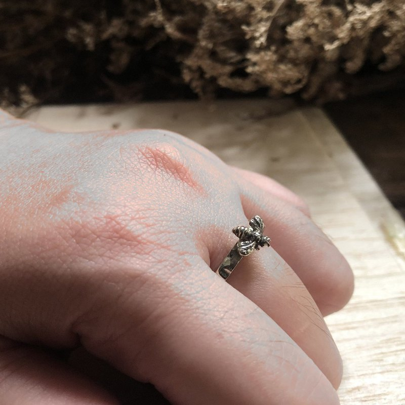 honey Bee Ring Sterling Silver Statement Nature couple boho tiny little small