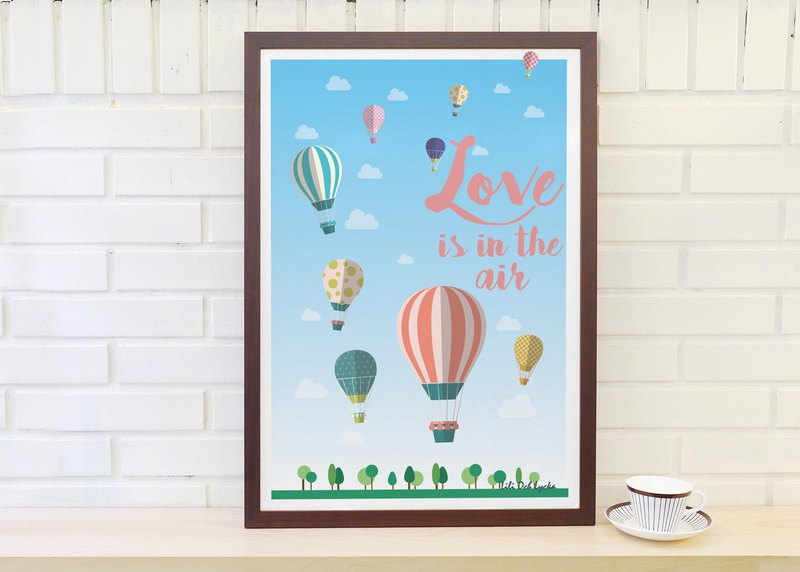 Original Nordic simple retro poster Love is in the air (without frame)