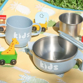 Pure titanium children's learning cup water injection bowl (double layer) - lime blue