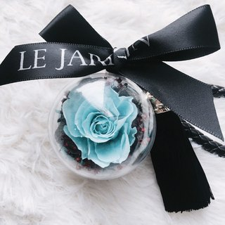 Le Jardin Dark Dark Black Blue Rose Eternal Flower Ball Fringe Leather Key Ring Birthday Gift