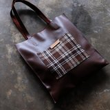 Chocolate Brown Leather and Plaid Wool Tote Bag
